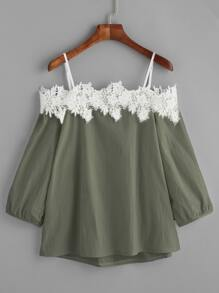 Army Green Cold Shoulder Applique Top