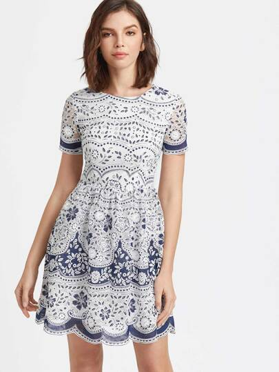 Blue And White Flower Print Scallop Mesh Skater Dress