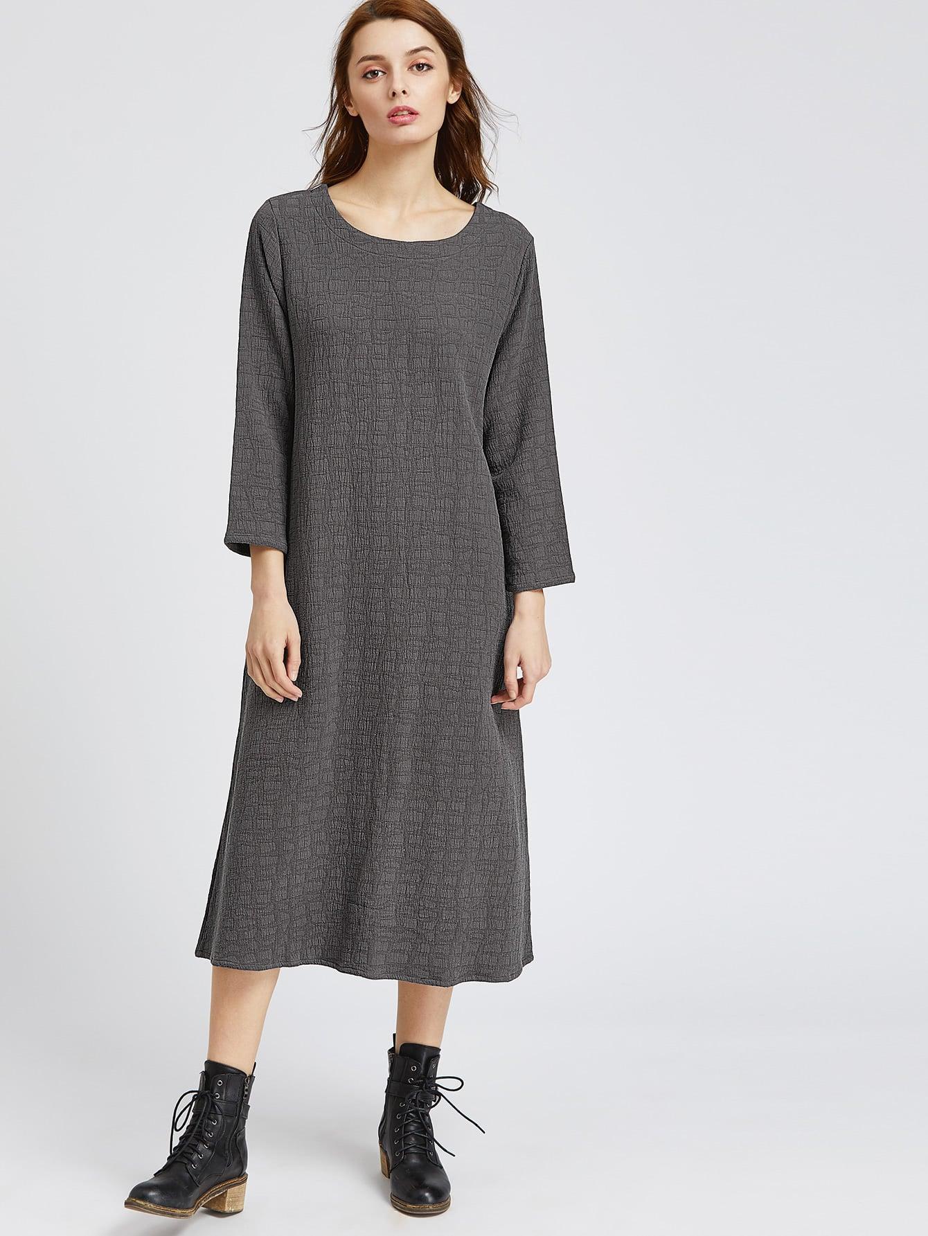Фото Dark Grey Slit Back Shift Dress With Pockets. Купить с доставкой