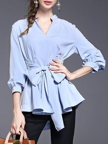 Blue V Neck Bowknot High Low Blouse