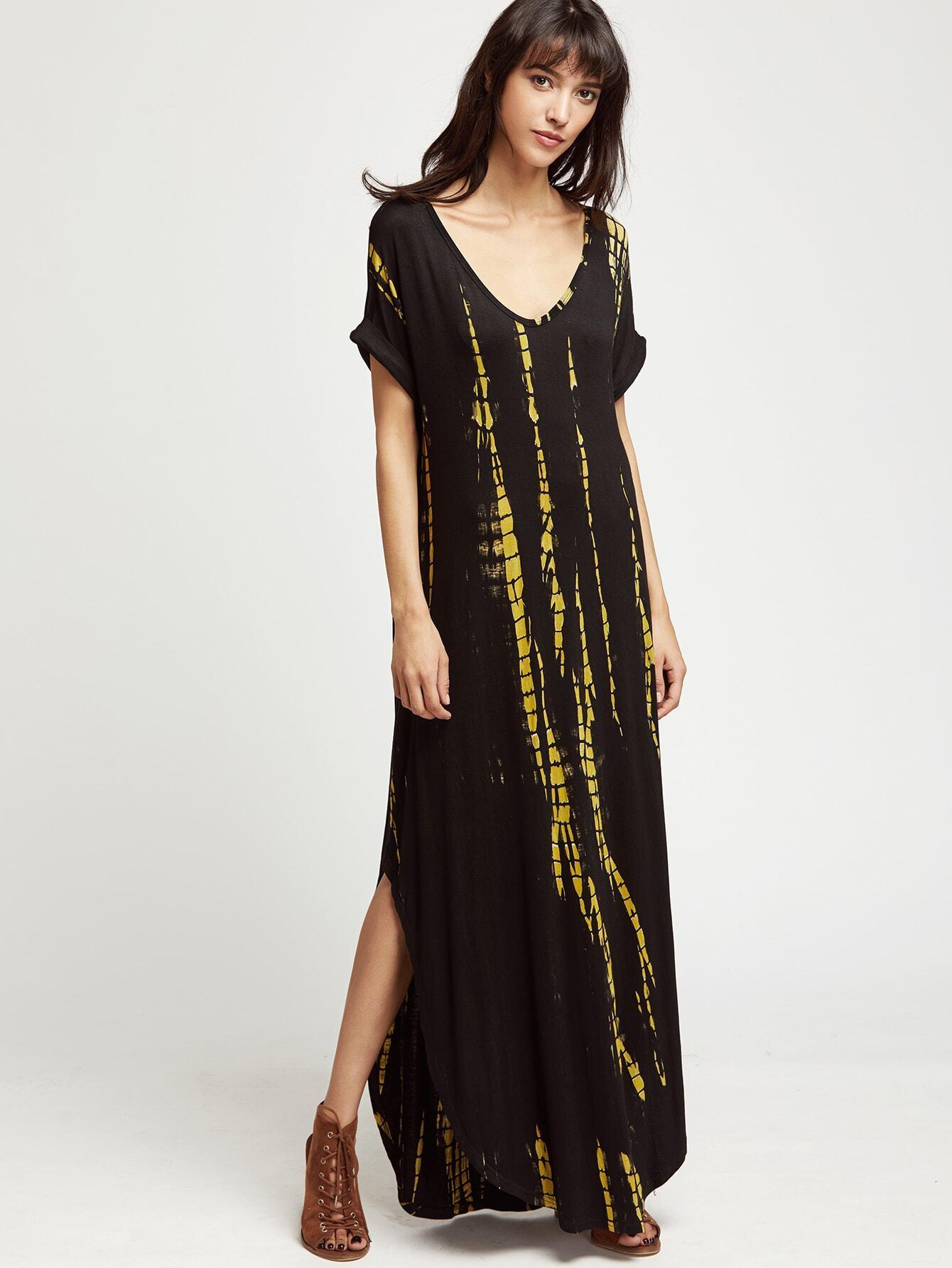 Фото Tie Dye Print Roll Cuff Dolphin Hem Dress. Купить с доставкой