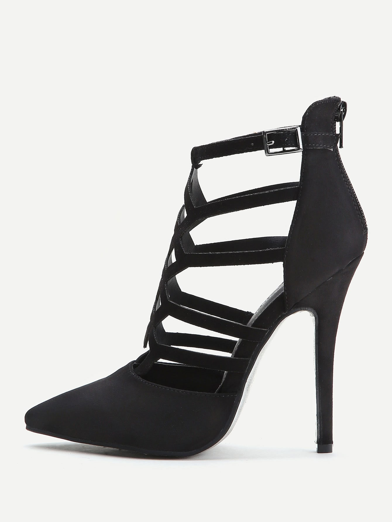 Black Cutout Zipper Back Stiletto Heels