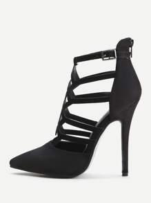 Zapatos de tacón de aguja con aberturas y cremallera - negro