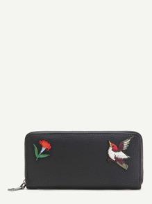Cartera con bordado de pájaro con textura - negro