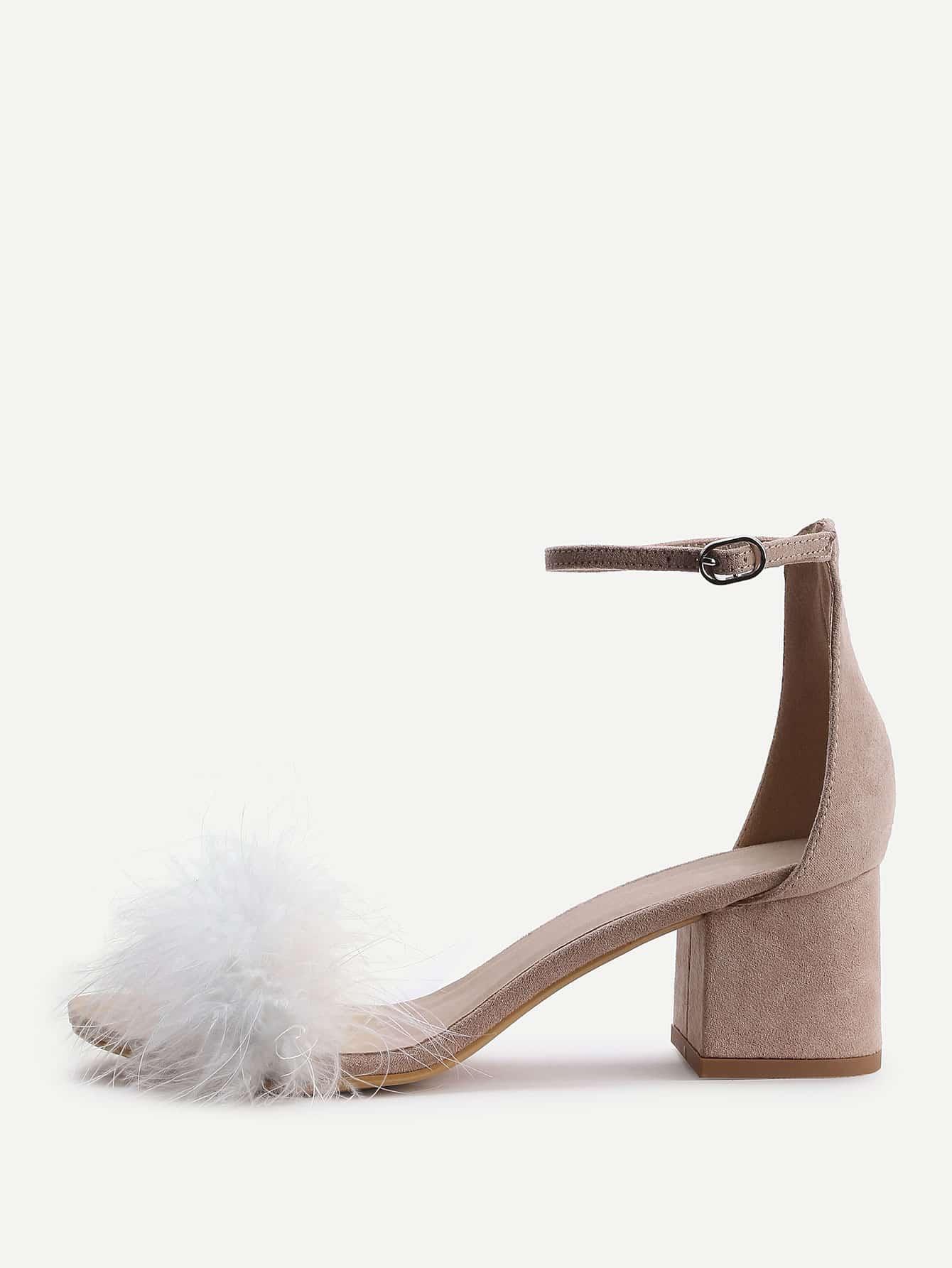 Фото Apricot Faux Fur Ankle Strap Chunky Heeled Sandals. Купить с доставкой