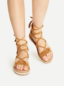 Brown Lace Up Espadrille Flat Sandals With Tassel