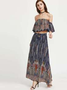 Multicolor Vintage Print Off The Shoulder Ruffle Top With Skirt