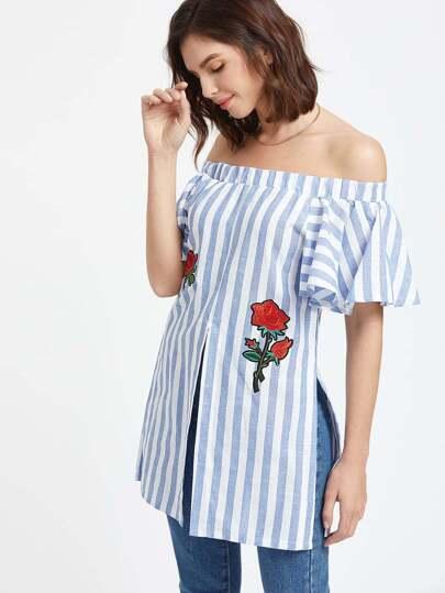Off The Shoulder Vertical Striped Embroidered Slit Hem Top