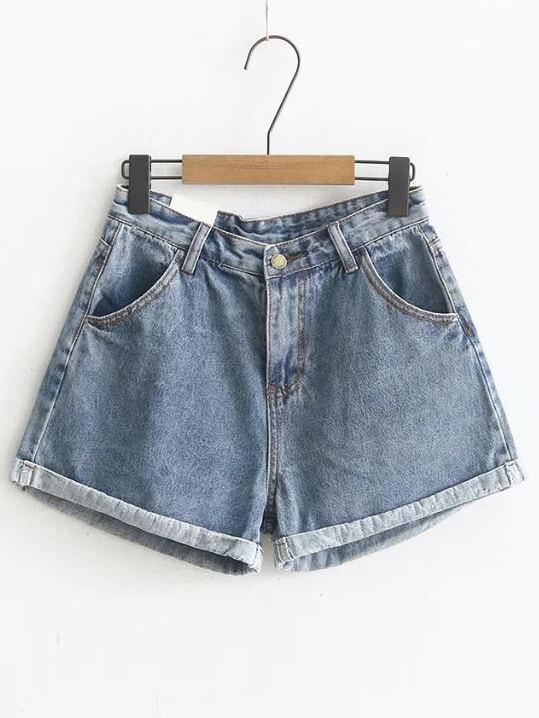 Фото Blue Rolled Hem Denim Shorts. Купить с доставкой