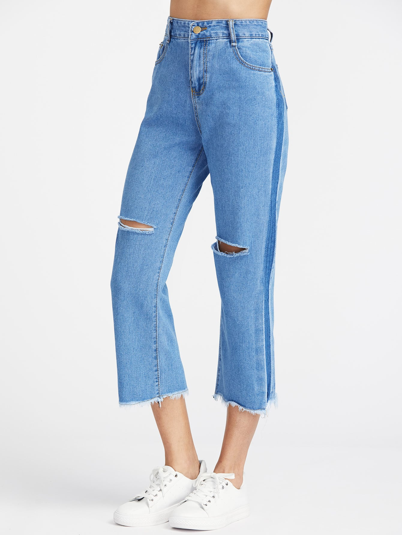 Cut Out Frayed Hem Ankle Jeans thumbnail
