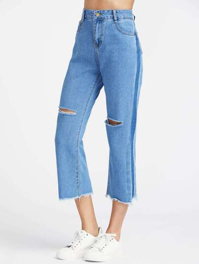 Cut Out Frayed Hem Ankle Jeans
