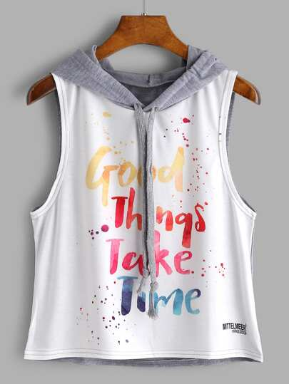 Color Block Letter Print Sleeveless Hooded Top