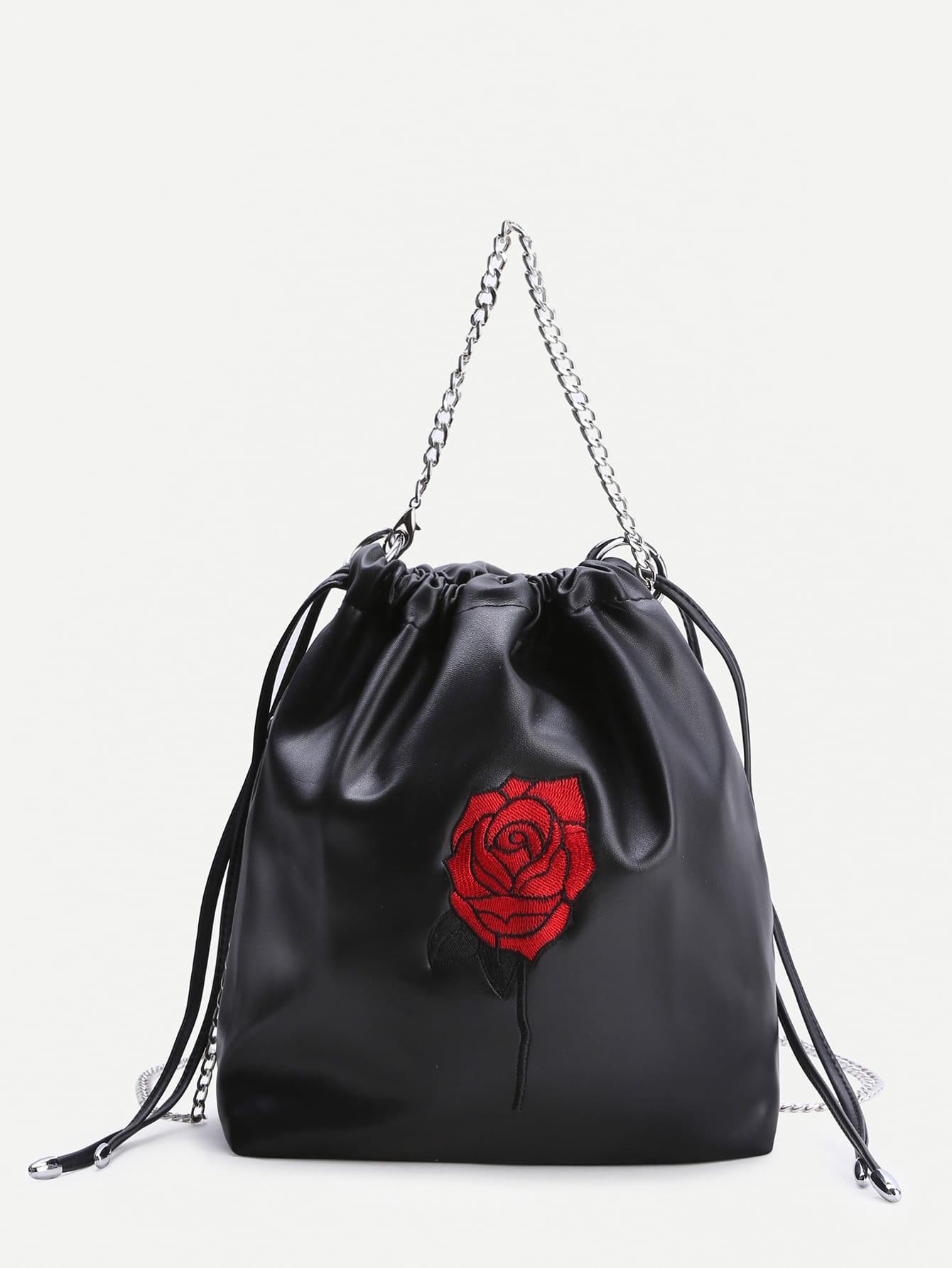 Фото Black Rose Embroidery Drawstring Bucket Bag. Купить с доставкой