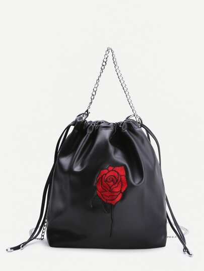 Black Rose Embroidery Drawstring Bucket Bag