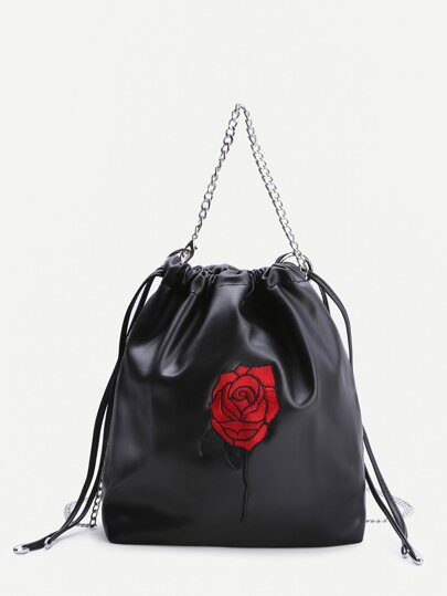 Black Rose ricamo coulisse Bag benna