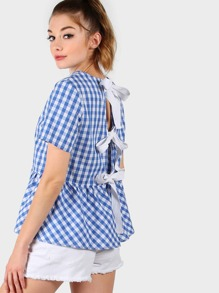 Checkered Back Tie Peplum Top BLUE