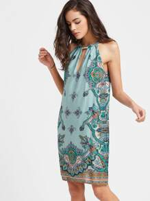 Green Paisley Print Halter Cut Out Dress
