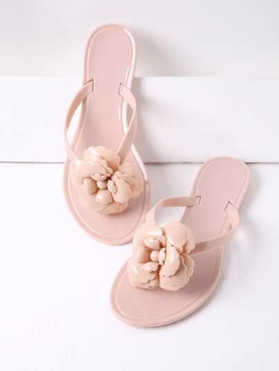 Pink Flower Design Toe Post Flat Sandals