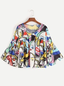 Multicolor Graffiti Print V Neck Bell Sleeve Blouse