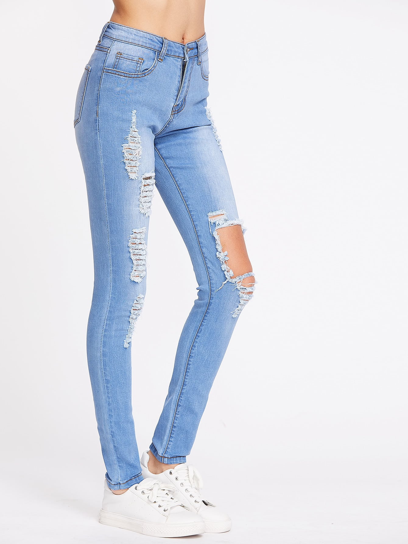 Bleach Wash Distressed Skinny Jeans embroidered distressed skinny jeans