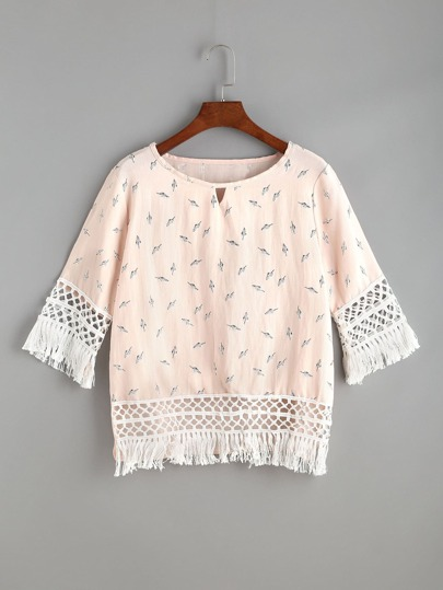 Floral Print Cut Out Front Fringe Trim Top