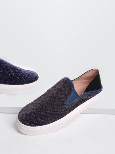 Purple Round Toe Glitter Flatform Sneakers