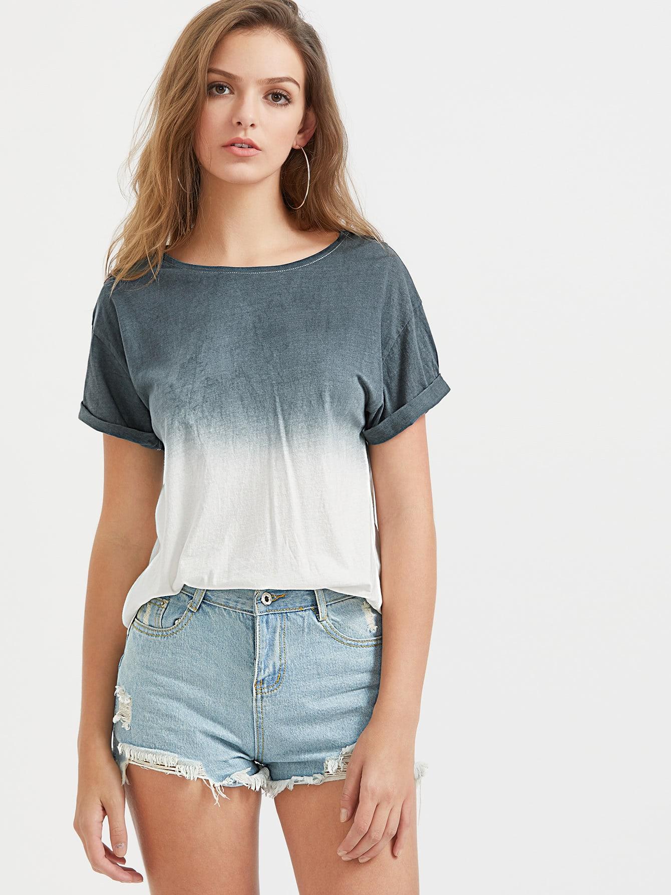 Фото Ombre Drop Shoulder Cuffed Sleeve T-Shirt. Купить с доставкой