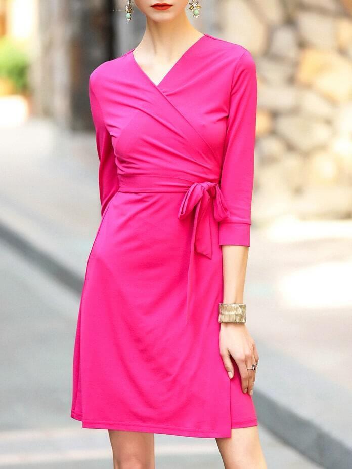 Фото Hot Pink V Neck Tie-Waist Shift Dress. Купить с доставкой