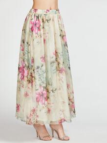 Falda larga con estampado de flor de cintura elástica - beige
