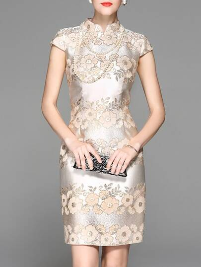 Gold Cap Sleeve Flowers Embroidered Sheath Dress