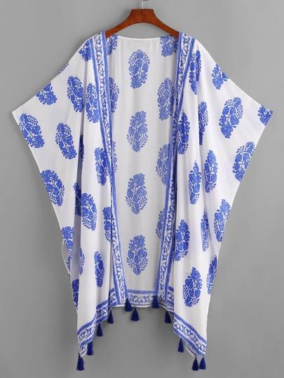 Fringe Trim Allover Print Batwing Kimono