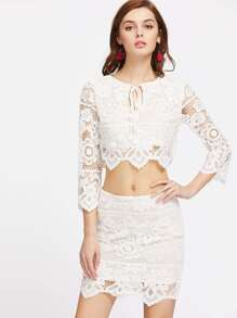 Tie Neck Lace Overlay Crop Top And Skirt