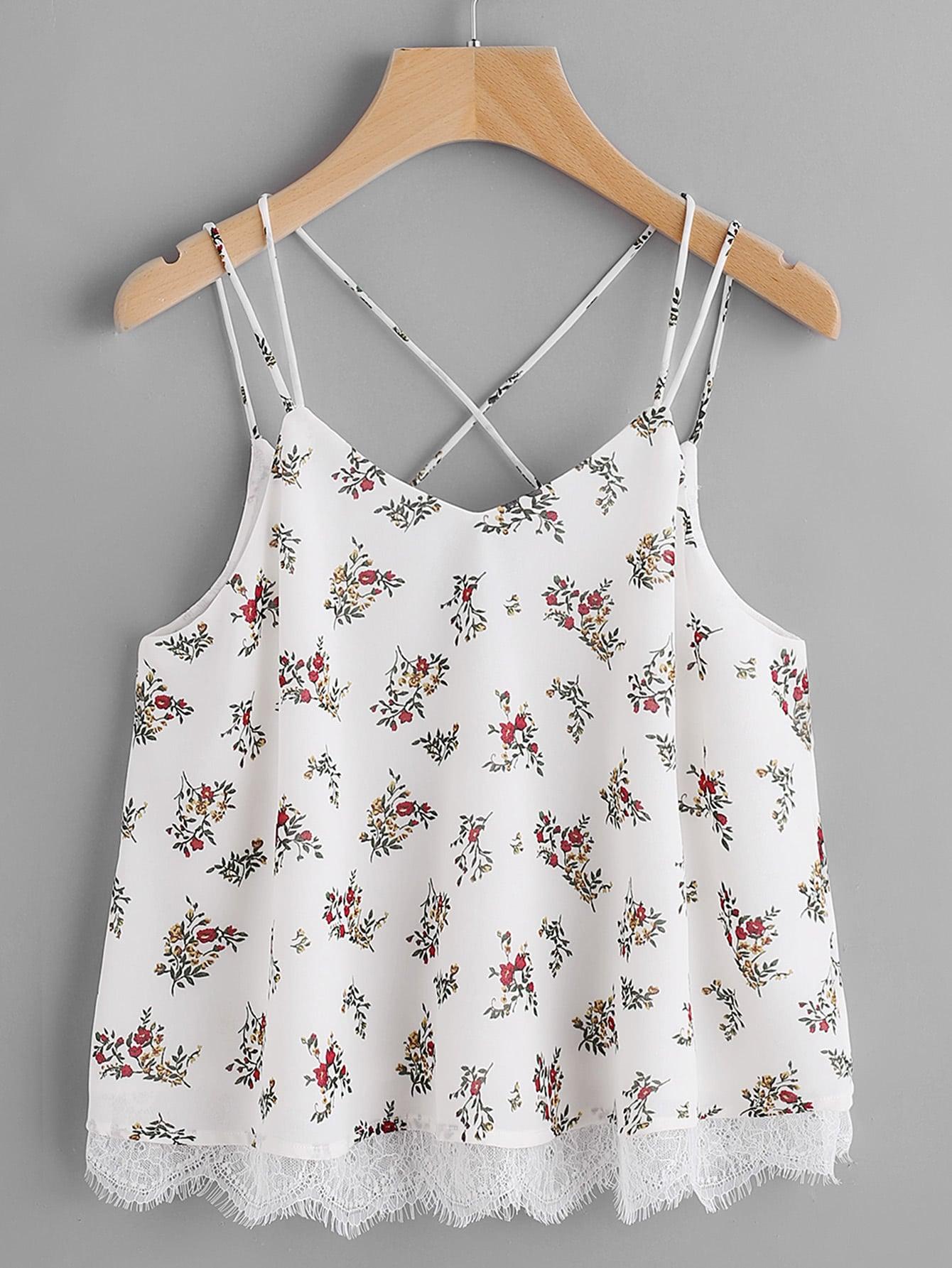 Фото Lace Trim Double Strap Crisscross Floral Cami Top. Купить с доставкой