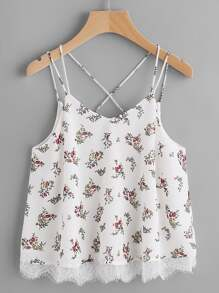 Lace Trim Double Strap Crisscross Floral Cami Top