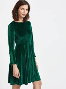 Dark Green Velvet Button Cuff Skater Dress