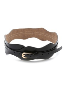 Black Faux Leather Buckle Waist Belt