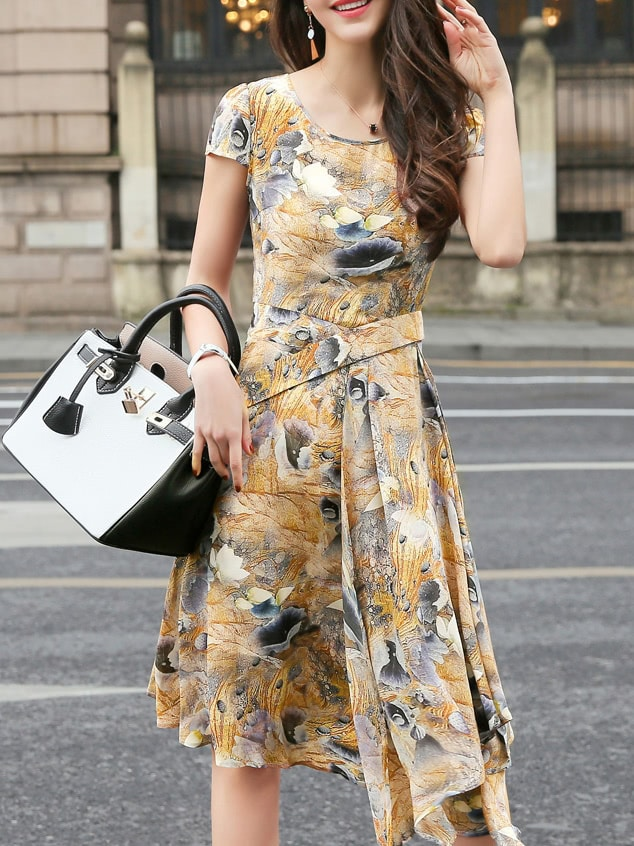 Фото Khaki Flowers Print Asymmetric Dress. Купить с доставкой