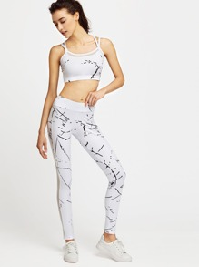 White Printed Mesh Paneled Crop Cami Top With Leggings