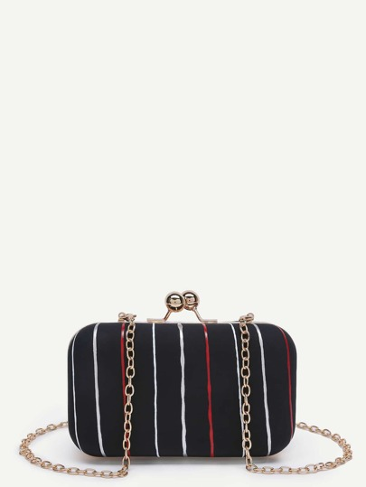 Striped Chain Crossbody Bag With Kiss Lock