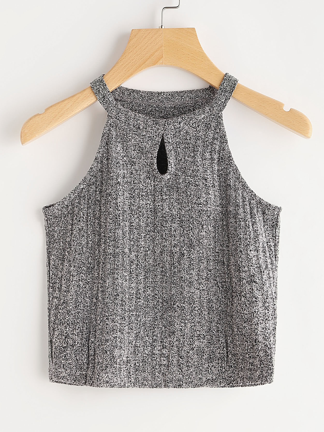 Space Dye Keyhole Front Knit Top