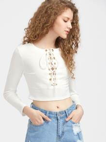 Eyelet Lace Up Front Crop Ribbed Tee