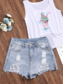 Shorts denim déchirés