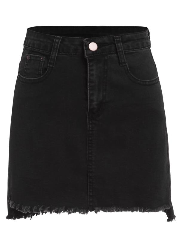 Button Pocket Raw Hem Denim Skirt, null