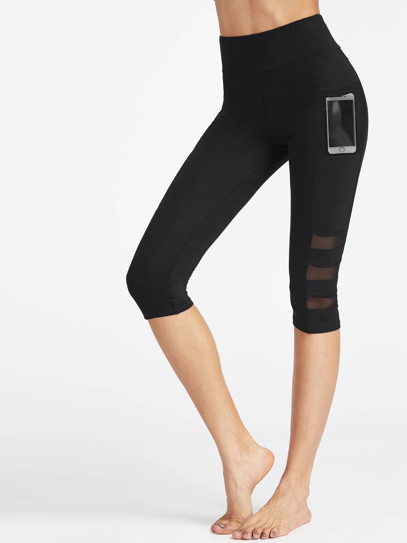 Фото Wide Waistband Mesh Pocket Side Ladder Cut Crop Leggings. Купить с доставкой