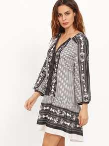 Buttoned V Neckline Smock Dress