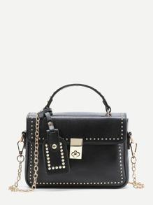 Studded Detail Shoulder Bag With Handle