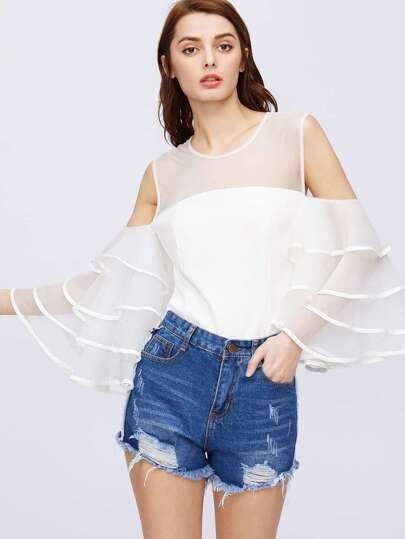 Contrast Sheer Mesh Tiered Bell Sleeve Top
