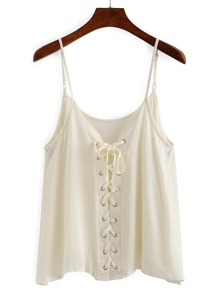 Grommet Lace Up Front Cami Top