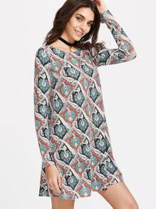 Multicolor Vintage Print Long Sleeve Tunic Dress