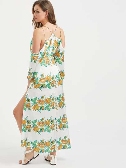 Plunging V-Neckline Flower Print Strappy Slit Dress